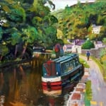 Canal boat | oil wood panel 50cm x 40cm | original oil painting by Mark Sofilas | Available