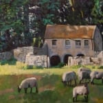 Old Barn & sheep | oil on canvas 80cm x 60cm | original oil painting by Mark Sofilas | Sold