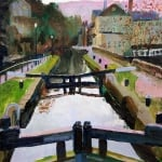 Tranquil, Hebden locks | oil on wood panel | original oil painting by Mark Sofilas | Sold