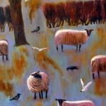 Winter sheep | oil on canvas | original oil painting by Mark Sofilas | Sold